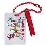 Santa Mickey and Minnie Mouse ''Happy Holidays'' Leather Luggage Tag – Personalizable