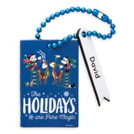 Santa Mickey and Minnie Mouse ''The Holidays are Pure Magic'' Leather Luggage Tag – Personalizable