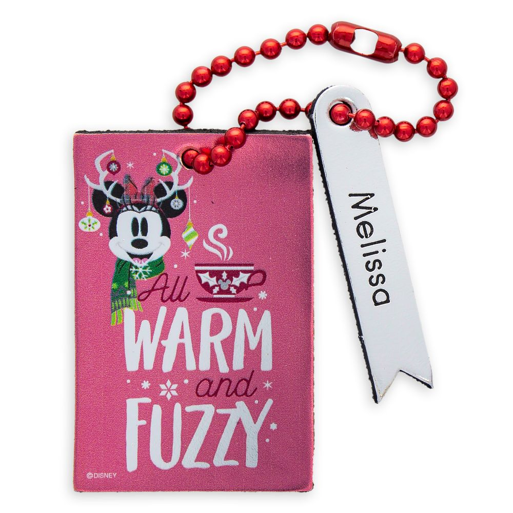 Santa Minnie Mouse Leather Luggage Tag – Personalizable