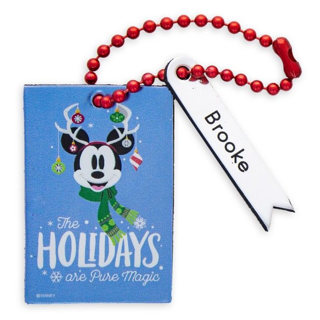 Santa Mickey Mouse ''The Holidays Are Pure Magic'' Leather Luggage Tag – Personalizable