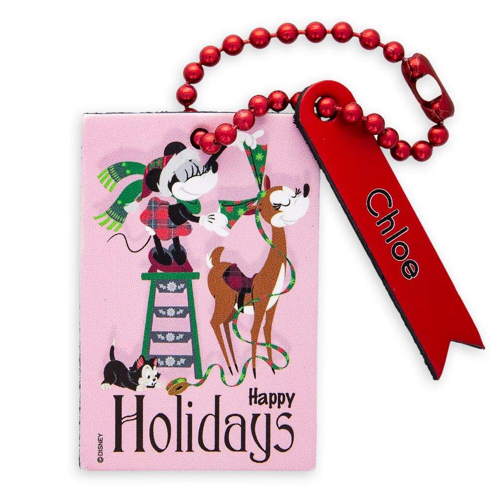 Santa Minnie Mouse and Figaro Leather Luggage Tag  Personalizable Official shopDisney