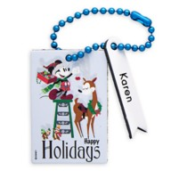 Santa Mickey Mouse and Chip 'n Dale Leather Luggage Tag – Personalizable