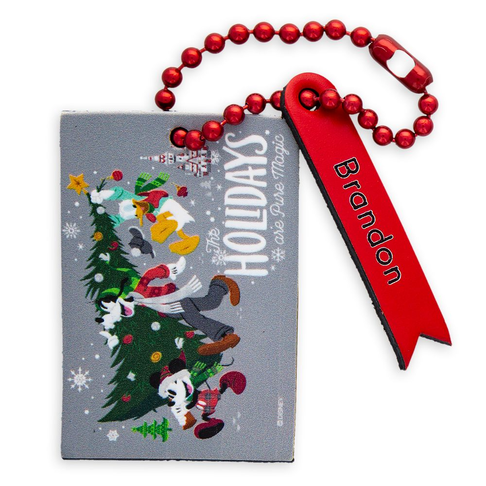 Santa Mickey Mouse and Friends Leather Luggage Tag – Personalizable