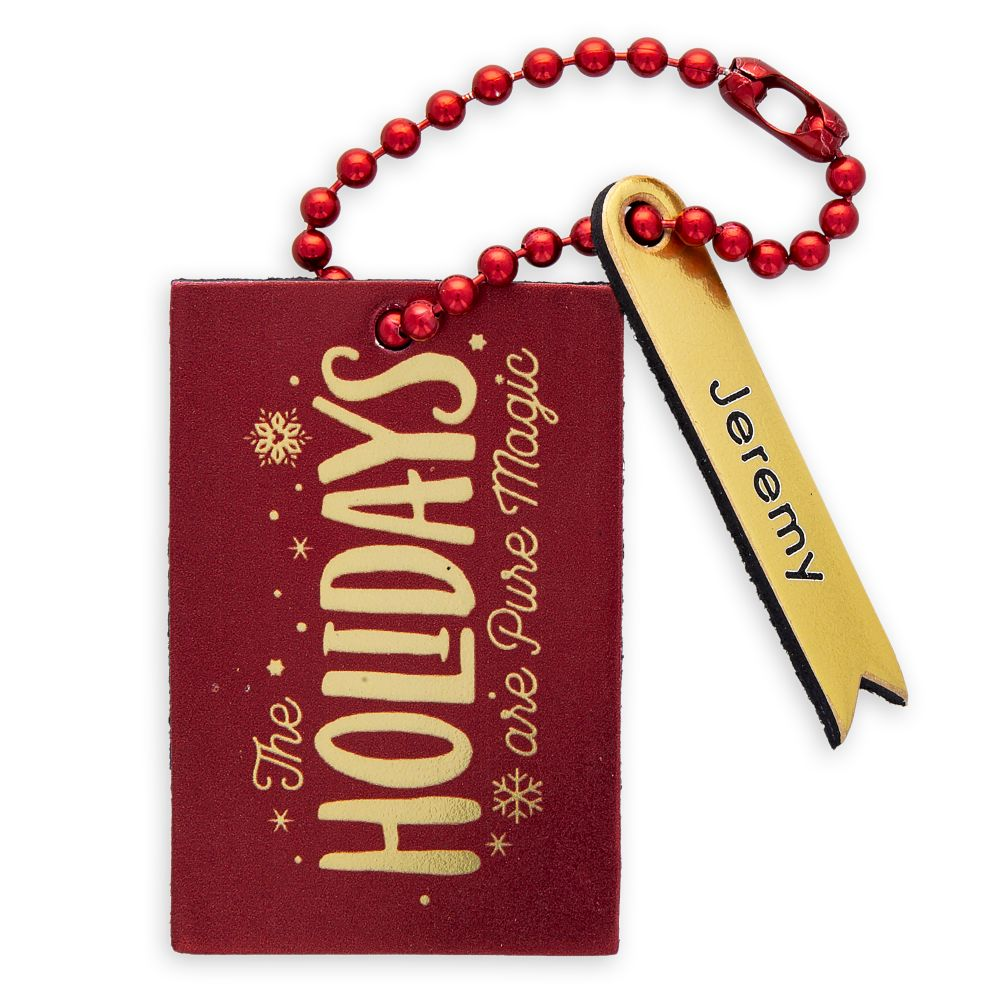 ''The Holidays Are Pure Magic'' Leather Luggage Tag – Personalizable