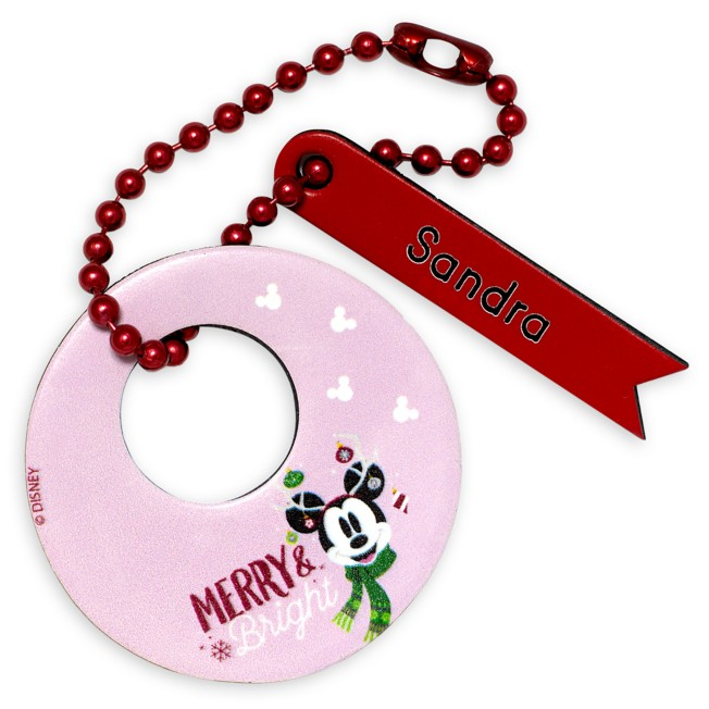 Mickey Mouse ''Merry & Bright'' Holiday Leather Luggage Tag – Personalizable