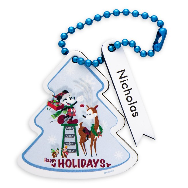 Santa Mickey Mouse and Friends ''Happy Holidays'' Leather Luggage Tag – Personalizable