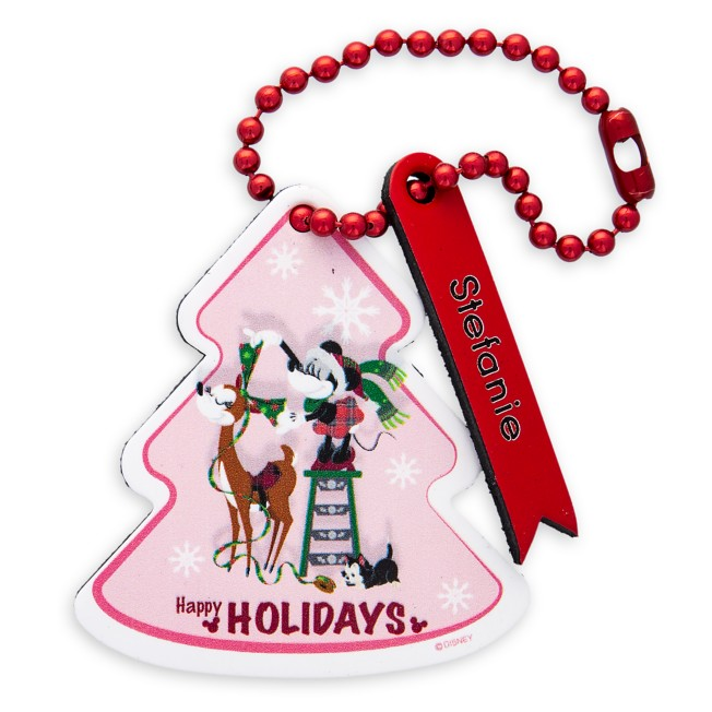 Santa Minnie Mouse ''Happy Holidays'' Leather Luggage Tag – Personalizable