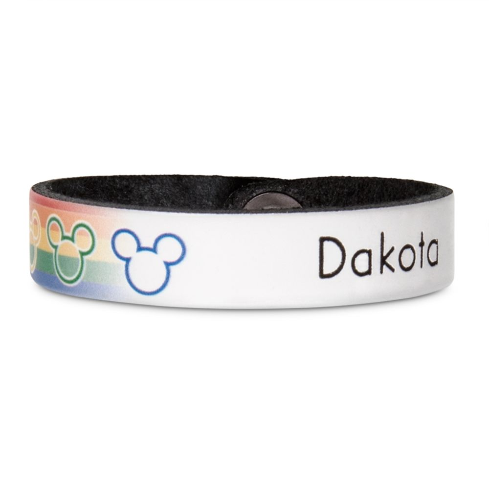 Rainbow Disney Collection Mickey Mouse Icon Wristband by Leather Treaty – Personalized