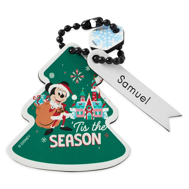 Santa Mickey Mouse Tree Bag Tag by Leather Treaty – Personalized