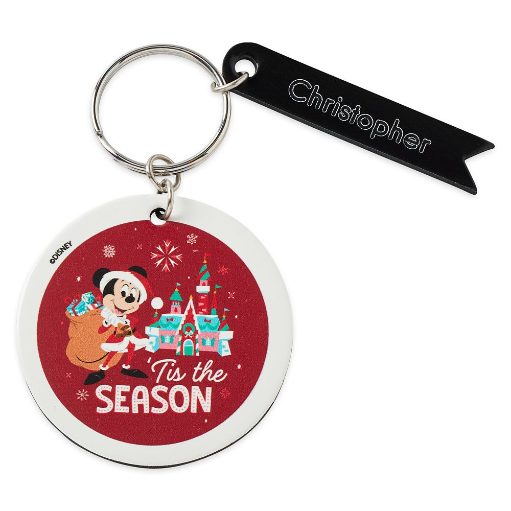 Santa Mickey Mouse Circular Keychain by Leather Treaty – Personalized