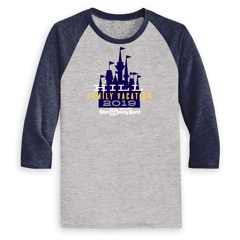 Men's Cinderella Castle Family Vacation Raglan Shirt – Walt Disney World – 2019 – Customized
