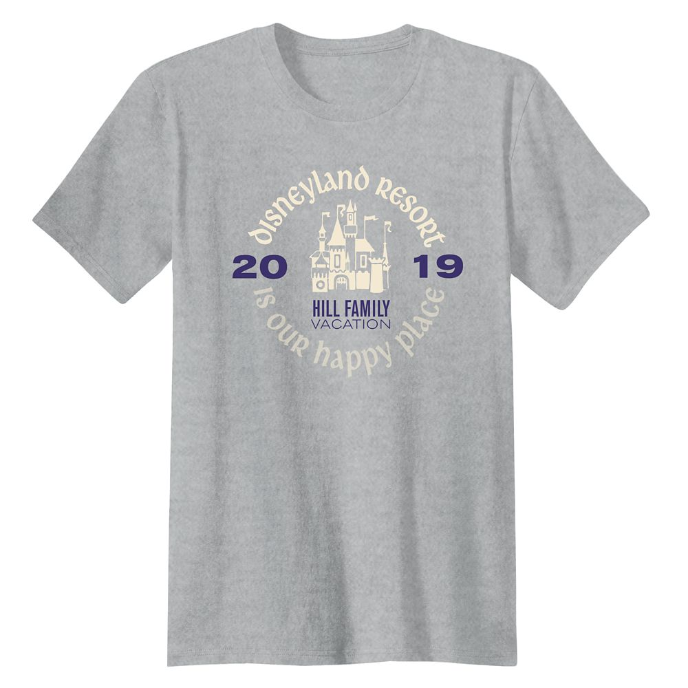 Adults' ''Disneyland Resort Is Our Happy Place'' Family Vacation T-Shirt  Disneyland Resort  2019  Customized