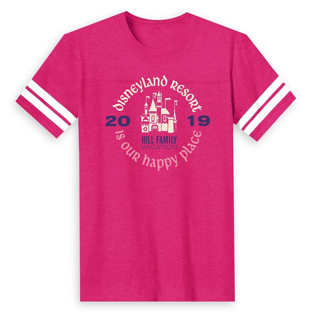 Men's ''Disneyland Resort Is Our Happy Place'' Family Vacation Football T-Shirt  Disneyland Resort  2019  Customized