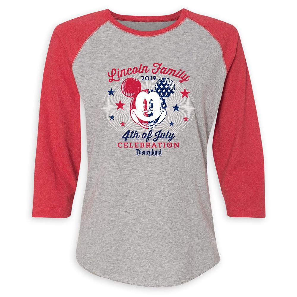 Women's Mickey Mouse 4th of July Raglan T-Shirt  Disneyland  Customized