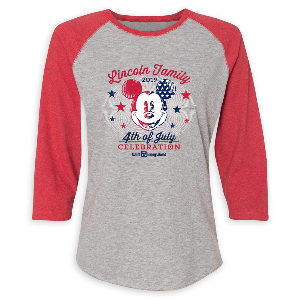 Women's Mickey Mouse 4th of July Raglan T-Shirt  Walt Disney World  Customized