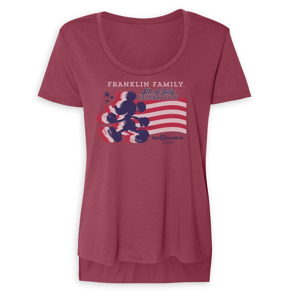 Women's Mickey Mouse Silhouette 4th of July Scoop Neck T-Shirt  Walt Disney World  Customized