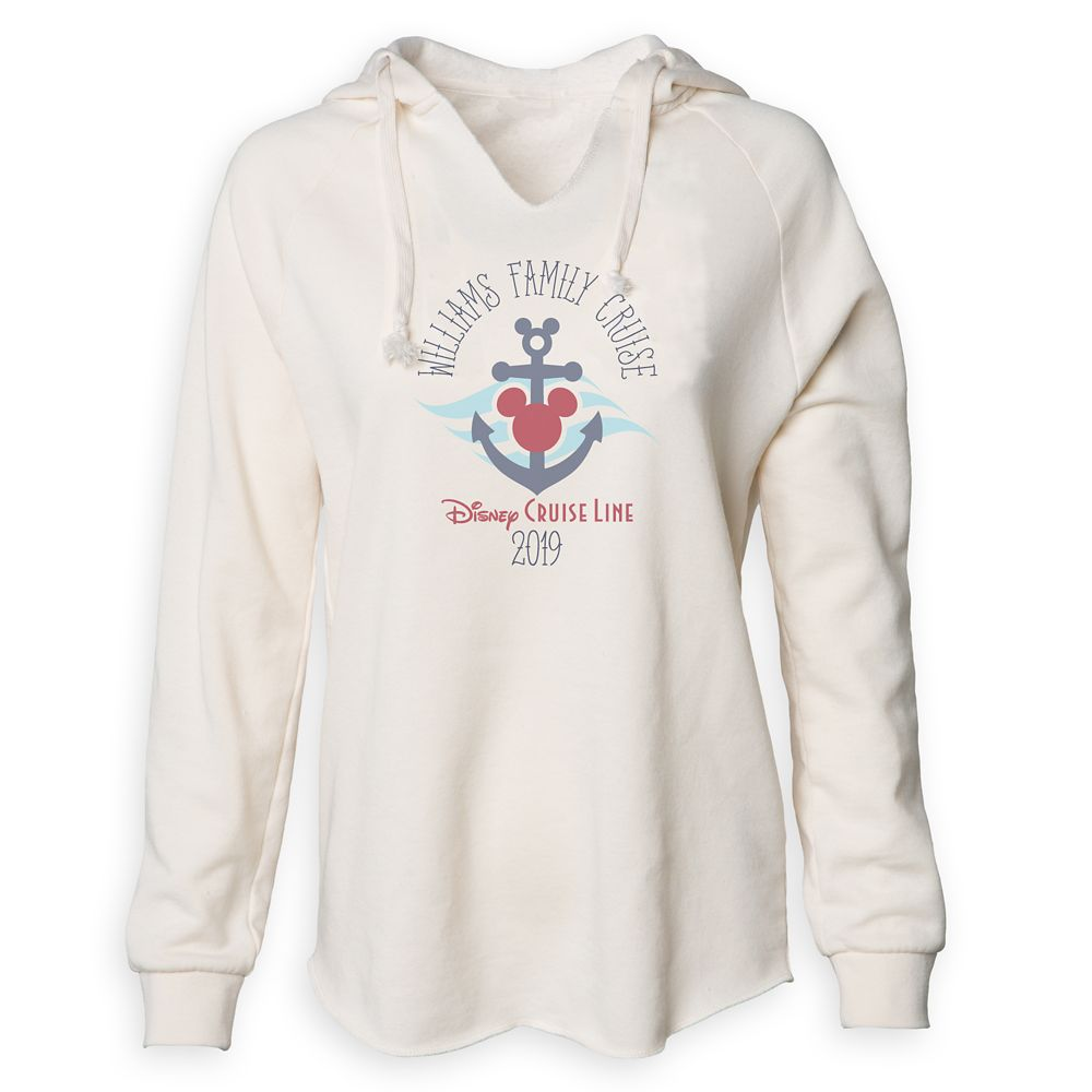 Women's Disney Cruise Line Anchor Family Cruise 2019 V-Neck Pullover Hoodie  Customized