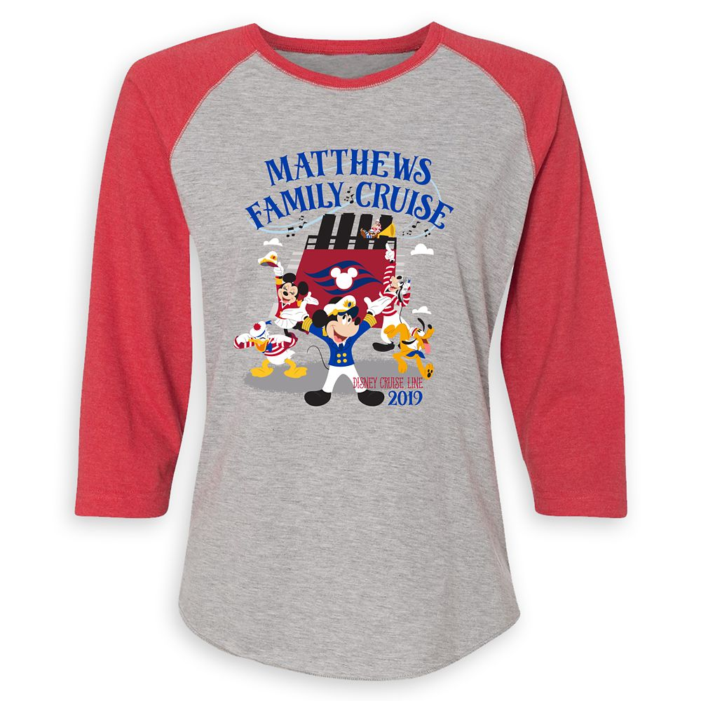 Women's Captain Mickey Mouse and Crew Disney Cruise Line Family Cruise 2019 Raglan T-Shirt  Customized