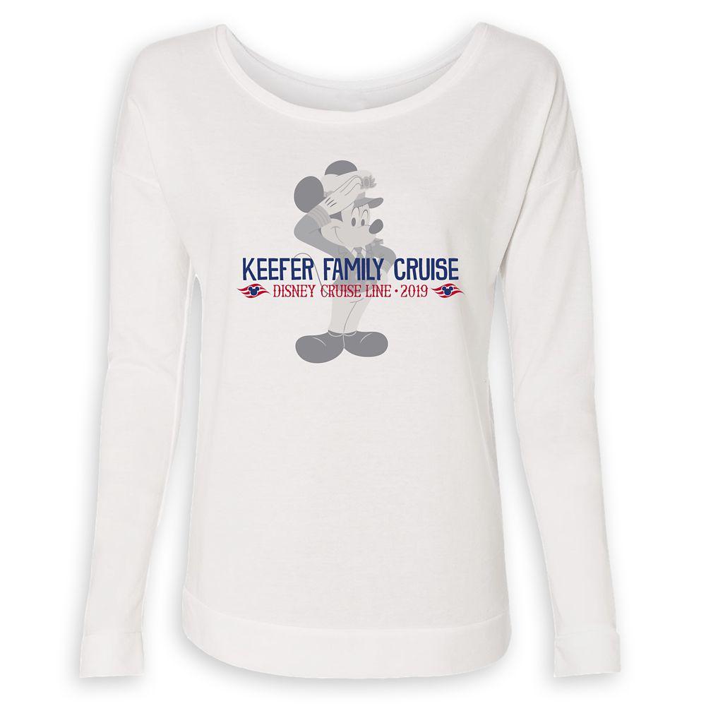 Women's Captain Mickey Mouse Disney Cruise Line Family Cruise 2019 Long Sleeve T-Shirt  Customized