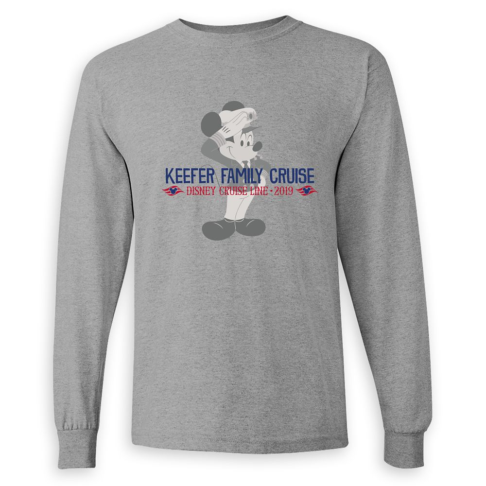 Adults' Captain Mickey Mouse Disney Cruise Line Family Cruise 2019 Long Sleeve T-Shirt  Customized