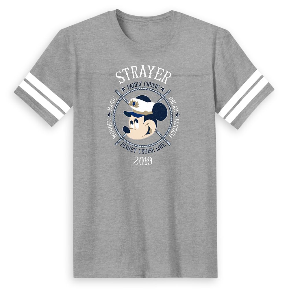 Men's Captain Mickey Mouse Disney Cruise Line Ships Family Cruise 2019 Football T-Shirt  Customized