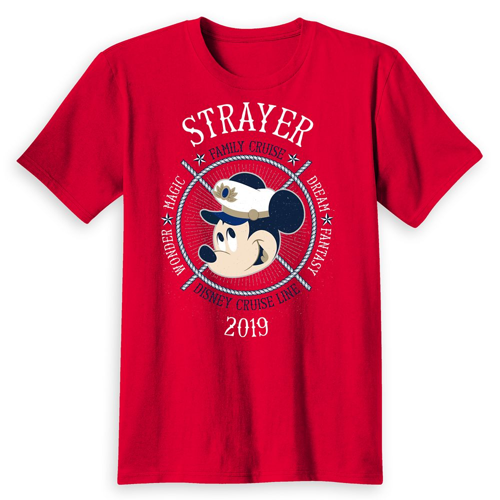 Adults' Captain Mickey Mouse Disney Cruise Line Ships Family Cruise 2019 T-Shirt  Customized