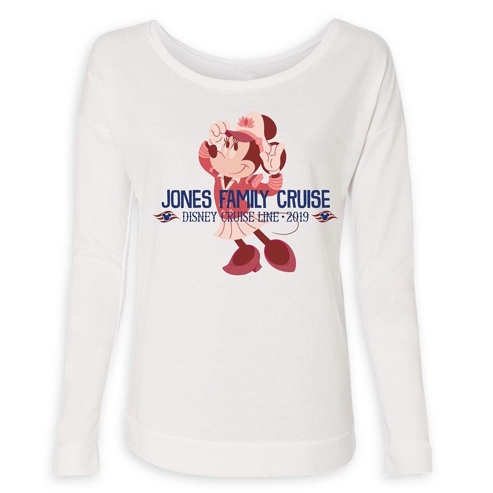 Women's Captain Minnie Mouse Disney Cruise Line Family Cruise 2019 Long Sleeve T-Shirt  Customized