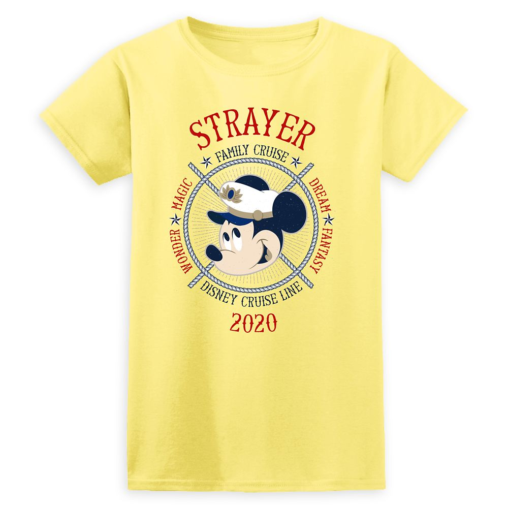 Women's Captain Mickey Mouse Disney Cruise Line Ships Family Cruise 2020 T-Shirt  Customized