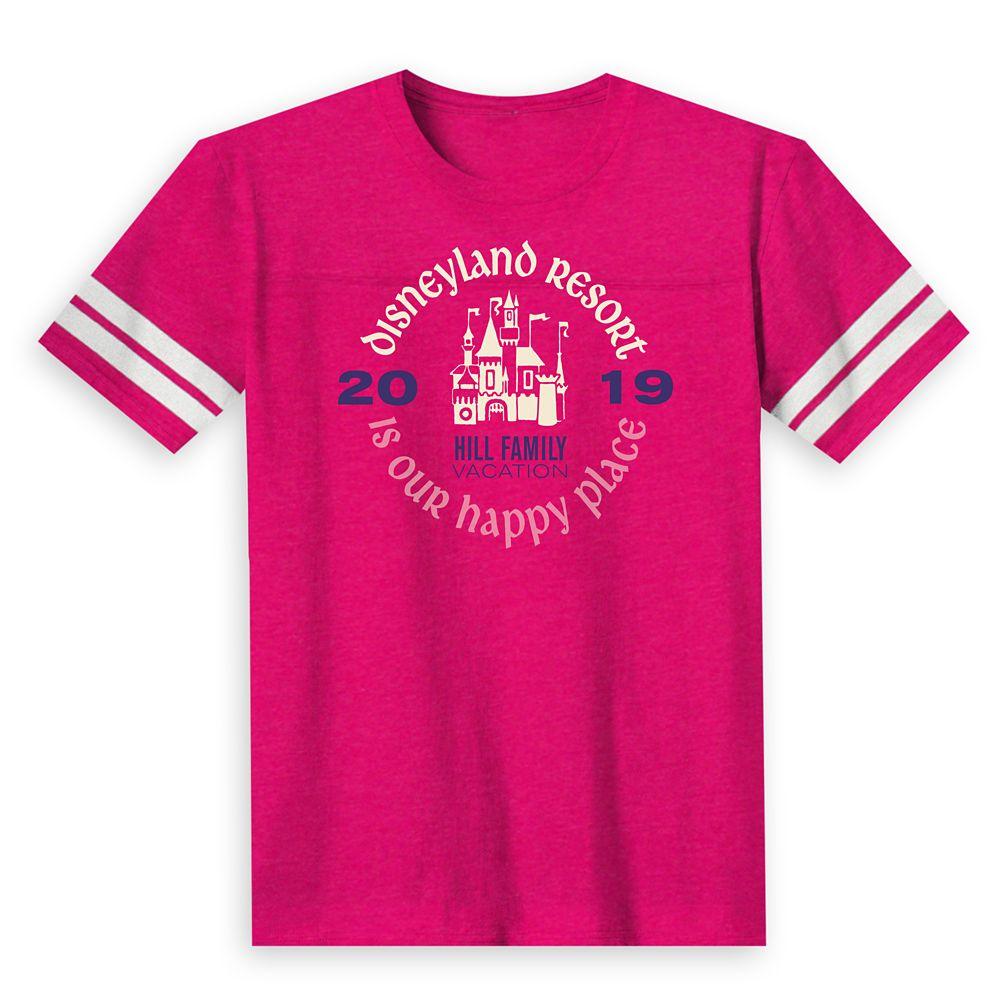 Kids' ''Disneyland Resort Is Our Happy Place'' Family Vacation Football T-Shirt  Disneyland Resort  2019  Customized