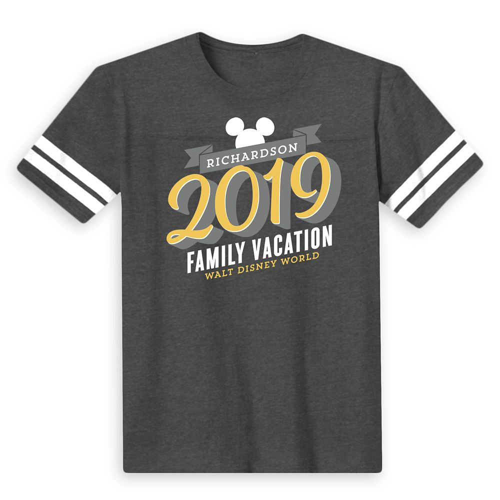 Kids' Mickey Mouse Family Vacation Football T-Shirt  Walt Disney World  2019  Customized