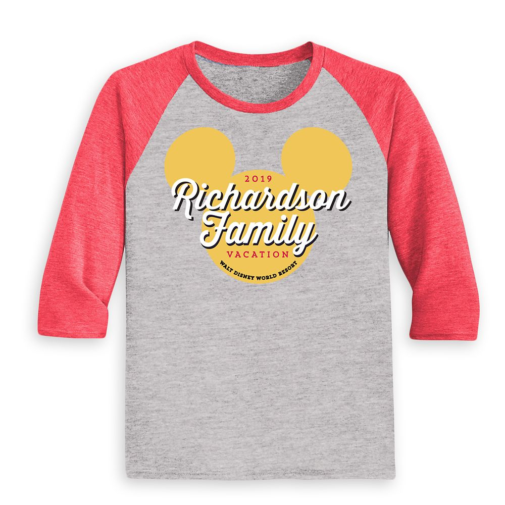 Kids' Mickey Mouse Icon Walt Disney World 2019 Vacation Raglan T-Shirt – Customized