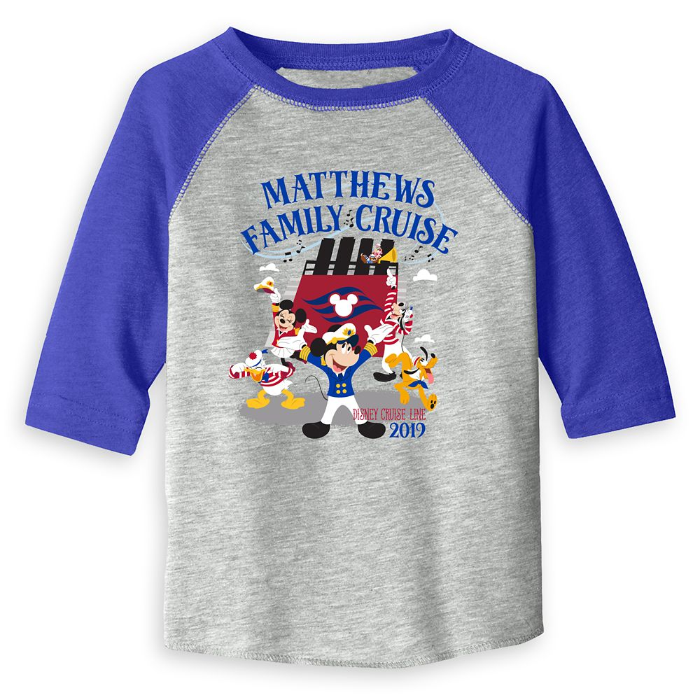 Toddlers' Captain Mickey Mouse and Crew Disney Cruise Line Family Cruise 2019 Raglan T-Shirt  Customized