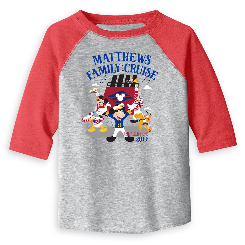 Toddlers' Captain Mickey Mouse and Crew Disney Cruise Line Family Cruise 2019 Raglan T-Shirt – Customized