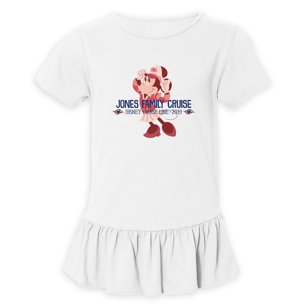 Girls' Captain Minnie Mouse Disney Cruise Line Family Cruise 2019 Ruffle T-Shirt  Customized
