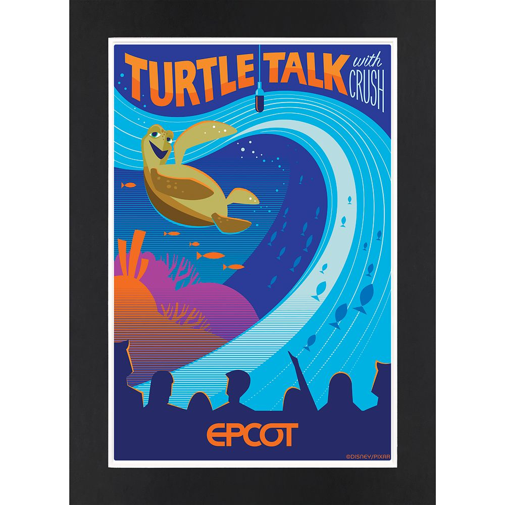 EPCOT Turtle Talk with Crush Matted Print