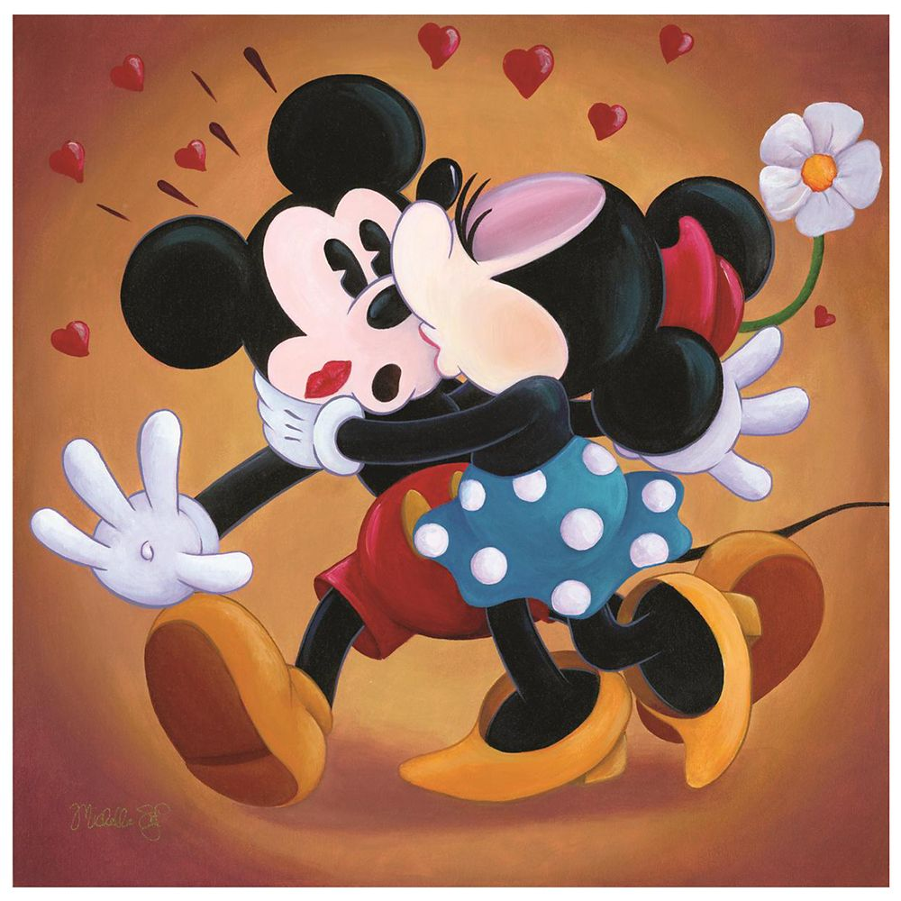 ''Mickey and Minnie Kissing'' Giclée by Michelle St.Laurent Official shopDisney