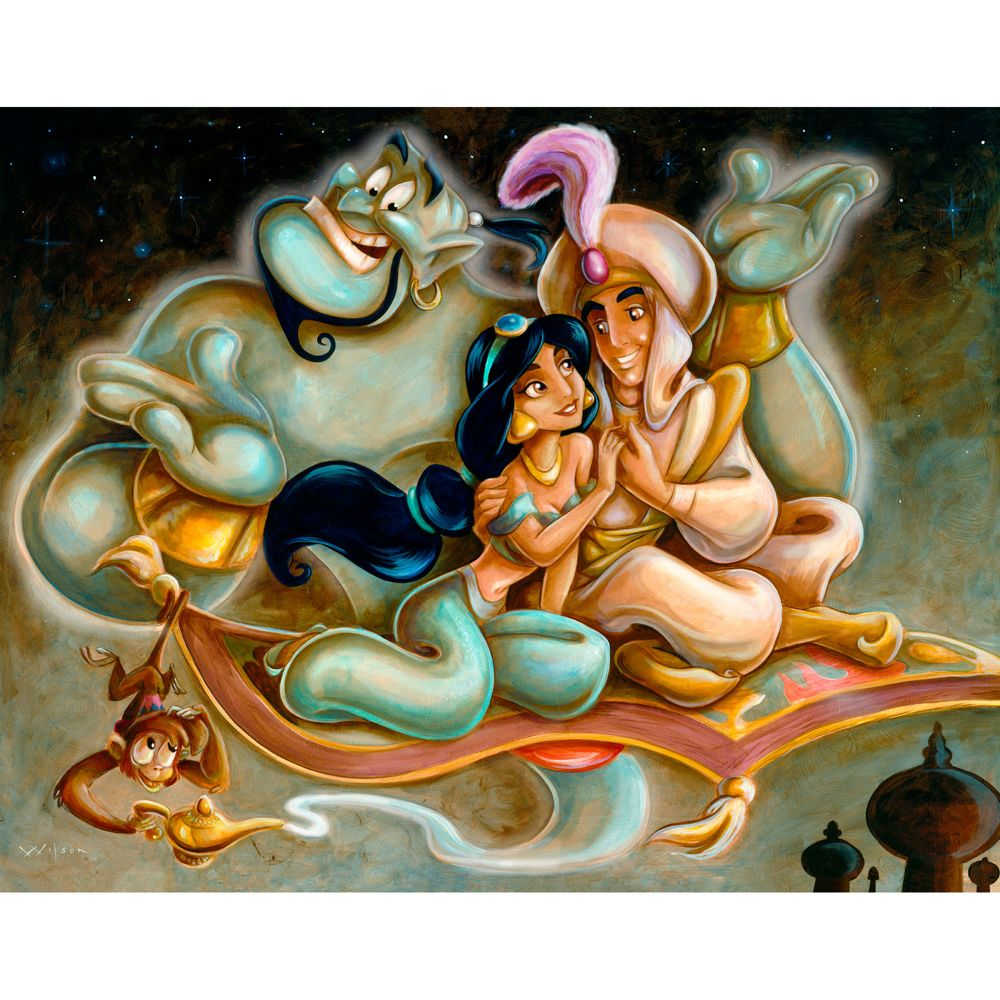 Aladdin and Jasmine Giclée by Darren Wilson Official shopDisney