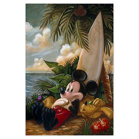 Mickey Mouse and Pluto ''Sundown Surfer Mickey Mouse'' Giclée by Darren Wilson