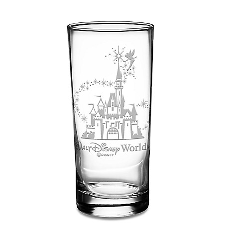 Walt Disney World Castle and Tinker Bell Glass Tumbler by Arribas - Personalizable
