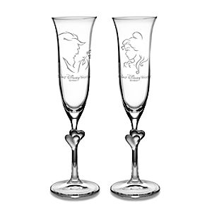 Beauty and the Beast Glass Flute Set by Arribas – Personalizable