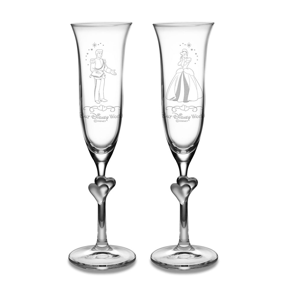 Cinderella and Prince Charming Glass Flute Set by Arribas – Personalizable