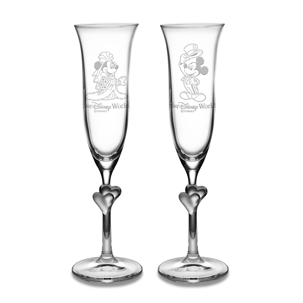 Minnie and Mickey Mouse Glass Flute Set by Arribas – Personalizable