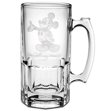 Mickey Mouse Glass Stein by Arribas - 36 oz. - Personalizable