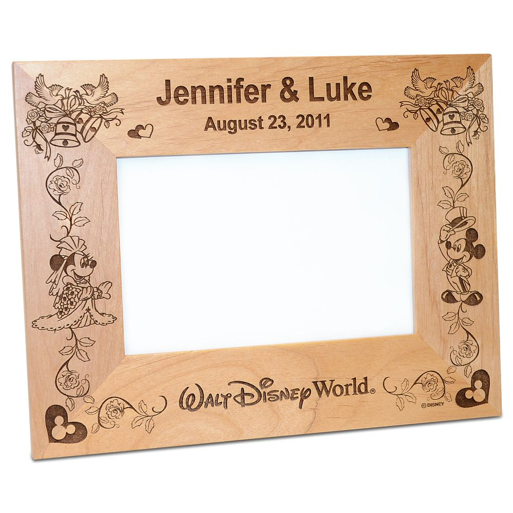 Walt Disney World Minnie and Mickey Mouse Wedding Photo Frame by Arribas – Personalizable