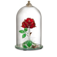 Beauty and the Beast Enchanted Rose Glass Sculpture by Arribas – Large