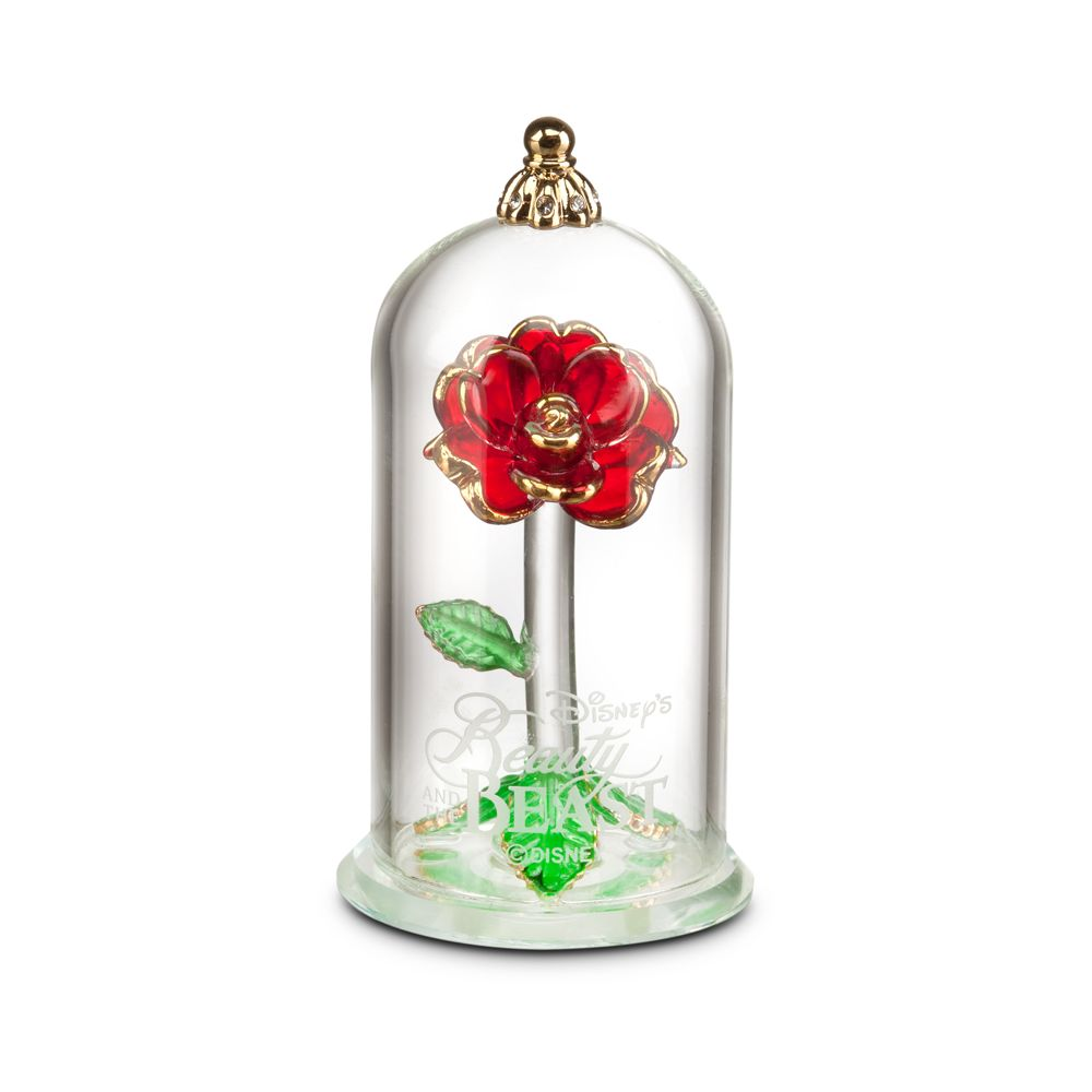 Beauty and the Beast Enchanted Rose Glass Sculpture by Arribas – Small