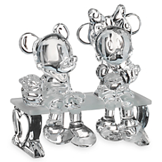 Mickey and Minnie Mouse on Bench Figurine by Arribas - Medium