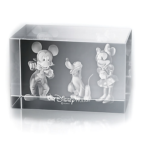 Mickey and Minnie Mouse, and Pluto Laser Cube by Arribas - Walt Disney World