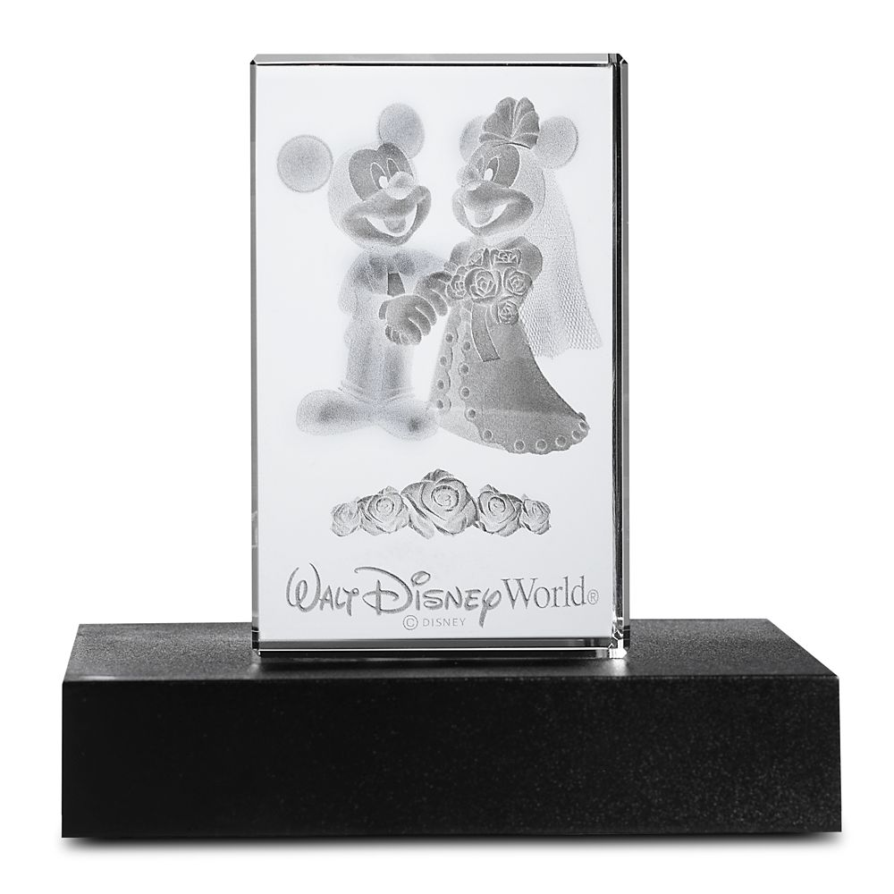 Mickey and Minnie Mouse Wedding Laser Cube by Arribas – Walt Disney World