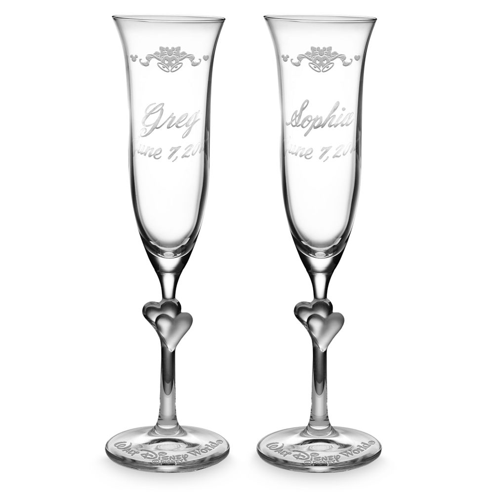 Walt Disney World Glass Flutes by Arribas – Personalizable